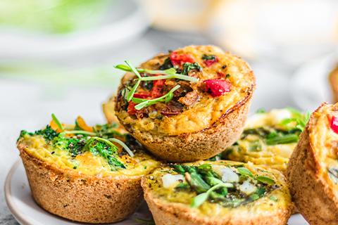 Mini Quiches 3 Ways made with Almond Flour Pizza Dough Mix Recipe