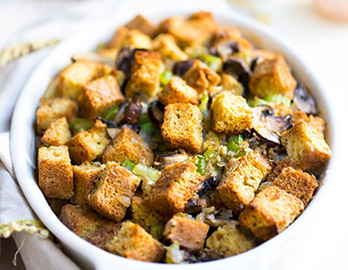 Mushroom and Herb Stuffing made with Almond Flour Baking Mix Artisan Bread Recipe