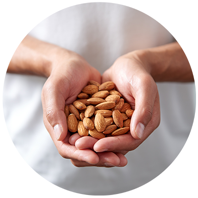 Almond Flour ingredient being cradled in hands, nothing artificial ever