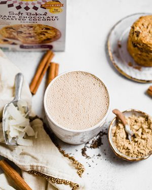 Wellness Latte served with Simple Mills SoftBaked Cookies