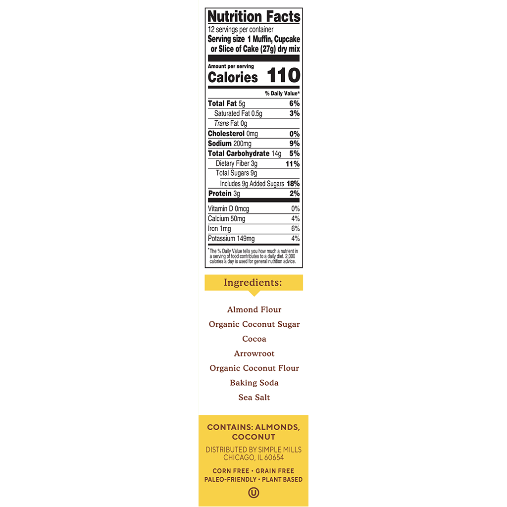 Almond Flour Baking Mix Chocolate Muffin & Cake Nutrition facts and ingredients. Box side panel