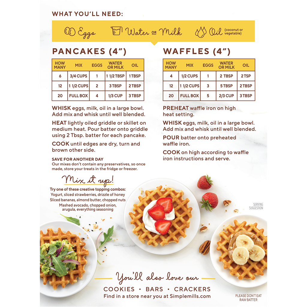 Almond Flour Baking Mix Pancake & Waffle Directions and recipes. Box back panel
