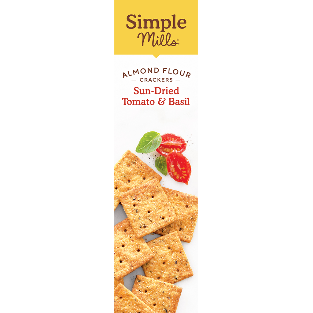 Almond Flour Crackers Sun-Dried Tomato and Basil Feel what good food can do. Box back panel